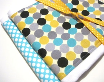 Baby Girl Boy Babies Burp Cloth Set- Burp Rags-Cute Turquoise Yellow Grey Polka Dots, Shower Gift, For Feeding Nursing Cloths, Matching Bib