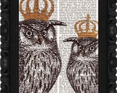Kings OWLS - art PRINT OWL print dictionary art on antique book page wall art owl art illustration print on vintage pages