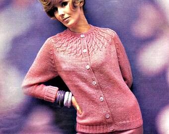 Cabled Yoke Cardigan Knit Sweater Pattern