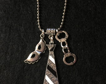 Inspired fifty shades of grey necklace with charms black stripes