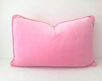 Lumbar Velvet Throw Pillow Cover, Baby Pink Velvet Cushion, Free Shipping