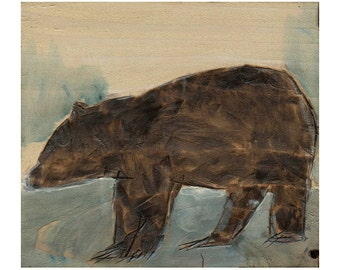 Brown Bear Giclee Art Print, Brown Bear Wall Art, thepaintedgrove