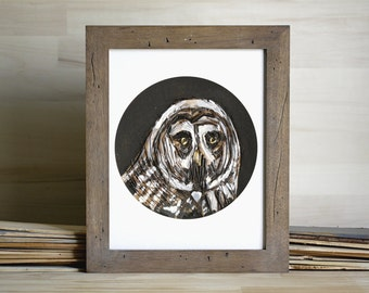 Black and White Owl Art Print, Animal Wall Art 5 x 7 inches