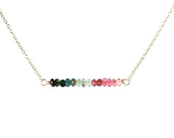 Tourmaline necklace - watermelon tourmaline - crystal necklace - bar necklace - healing - a row of tourmaline on a 14k gold filled chain