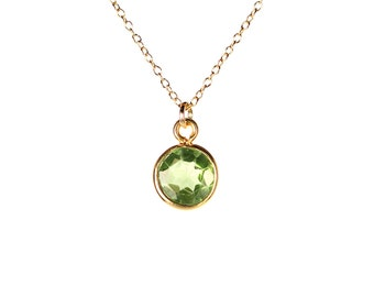 Peridot necklace - green peridot - august birthstone - healing crystal - crystal necklace - a genuine peridot on a 14k gold vermeil chain