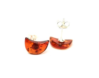 Amber earrings - moon earrings - baltic amber - silver studs - a set of genuine baltic amber moon earrings set on sterling silver posts