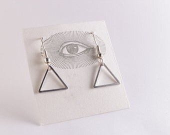 Small Silver Triangle Earrings