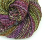 Handspun Yarn DK Light Worsted Weight, Merino Silk, Two Ply, Purple, Green, Gray, Lily Pond #1, 154 yds, 2.5 oz