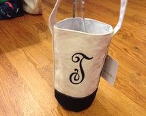 Insulated wine bag with monogrammed initials great christmas gift or wedding gift.