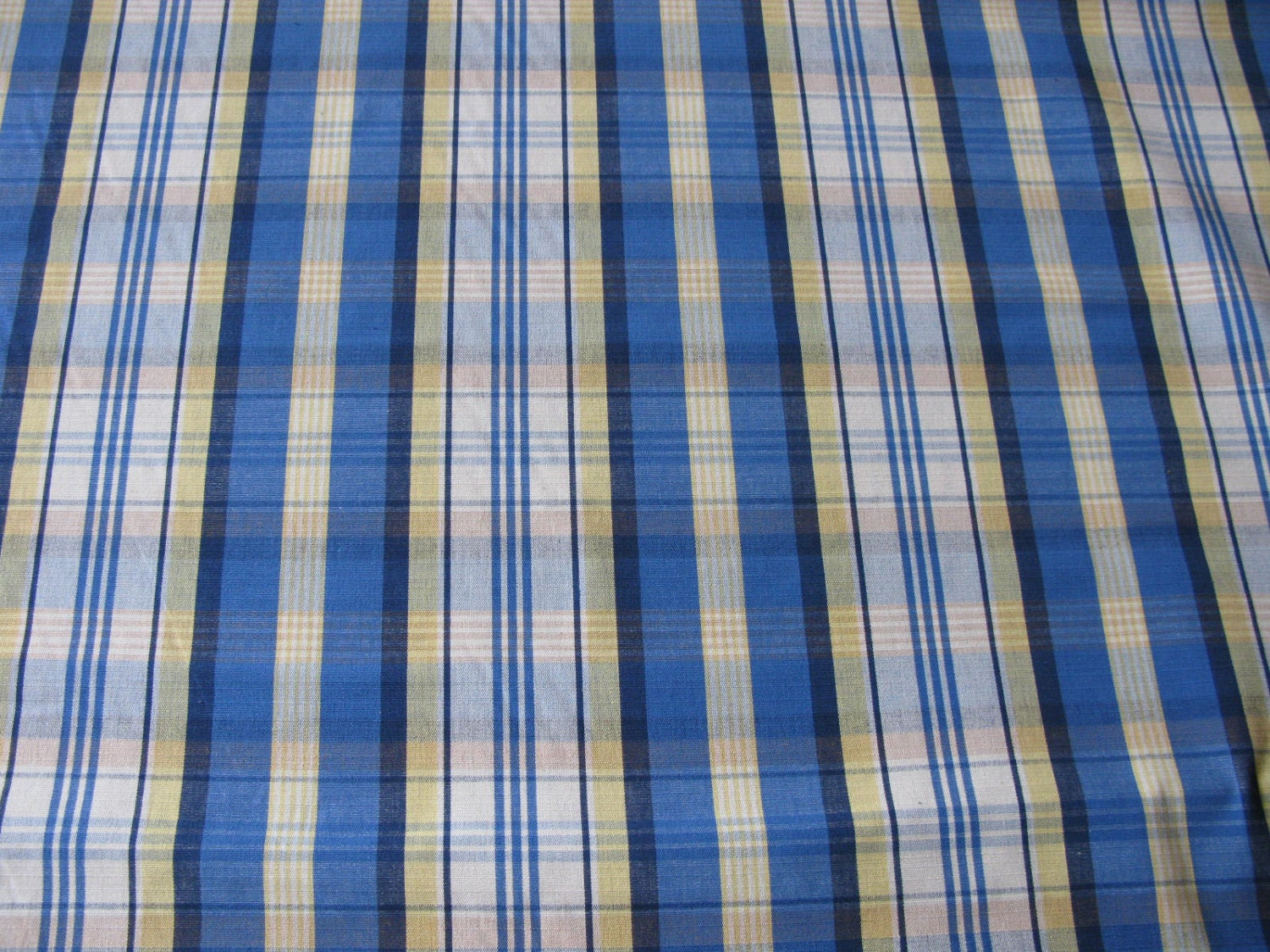 Blue plaid fabric fabric on sale vintage blue by for Cloth material for sale