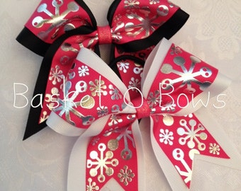 Small Cheer/Softball Style Bow ~ Holiday Fuchsia/Hot Pink with Silver Foil Snowflake Bow