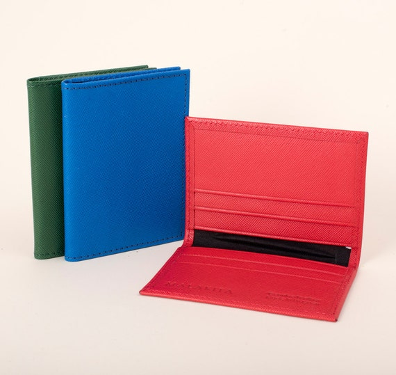 Leather business card case pact wallets for women