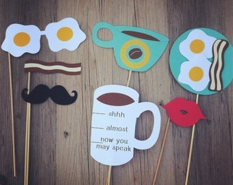 7-piece Breakfast Photo Props - Eggs, Coffee & Bacon - Cute Photo Props, Funny Photo Props, Wedding Props, Photobooth Props, Party Props