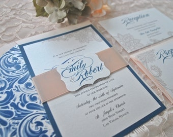Sophisticated Navy and Blush Lace Wedding Invitation (NOT A SAMPLE LISTING)