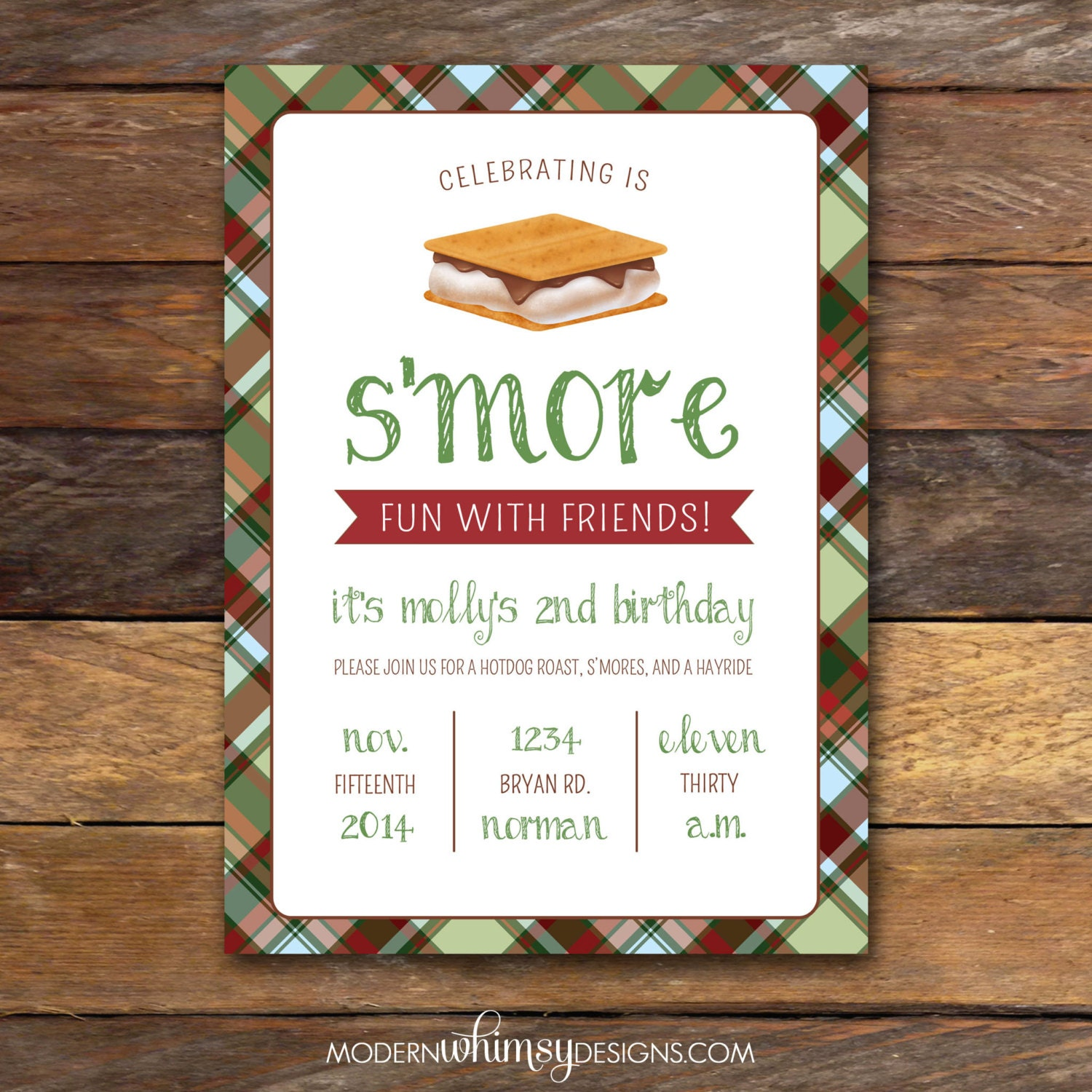 S'mores Party birthday invitation plaid by ModernWhimsyDesign