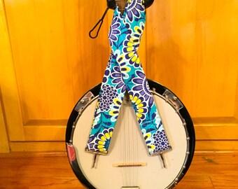 Banjo Strap - Handmade - Blue Flowers