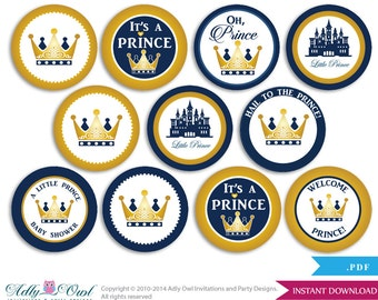 Boy Prince Cupcake Toppers for Baby Shower Printable DIY, favor tags, circles, It's a Boy, Royal - ONLY digital file - ao66bs0