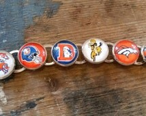 Denver Broncos Handmade Link Charm Bracelet Silver Plated NFL Football