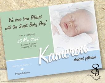 DIY baby photo announcement card