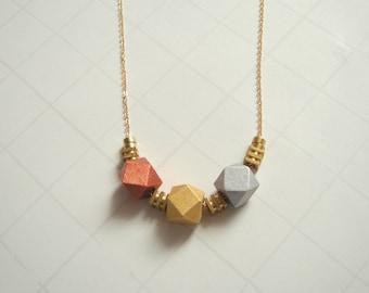 Geometric Necklace,Wood and  Brass  Necklace,Geometric Jewelry