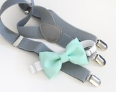 Mint green bow tie and light gray suspenders set