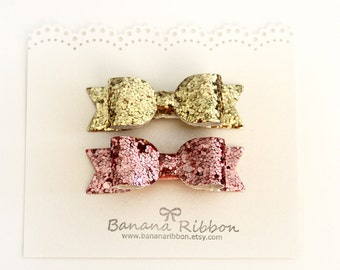 Set of 2 glitter hair bows - Baby and Girls glitter bow sets - baby mini snap clips -Gold and Pink hair bow sets