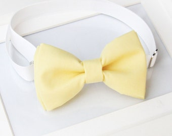 Pastel yellow bow-tie for baby toddler teens adult - Adjustable neck-strap