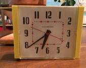 Vintage 1960s Yellow General Electric Wall Clock - Working