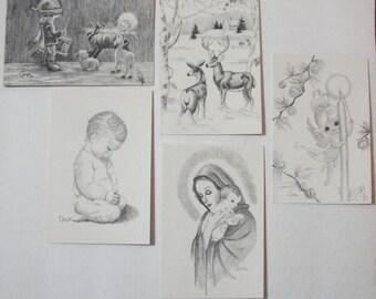 Polio Paralyzed Ann Adams Creates Christmas Cards Drawn by Mouth Copyright 1973.