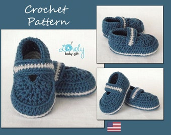 Crochet Baby Shoes Pattern, Baby Booties Pattern, Blue Slippers Crochet Pattern, CP-206