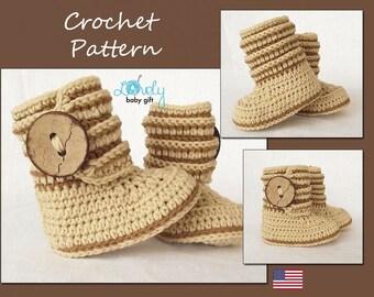 Crochet Baby Boots Pattern, Crochet Boot Pattern,  Baby Boots Pattern, Baby Booties Crochet Pattern, Pattern Crochet, CP-207