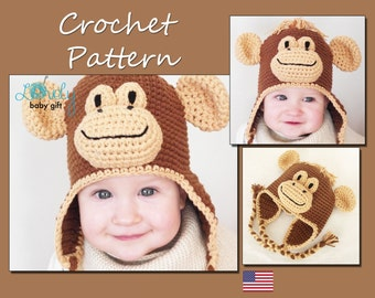 Crochet Animal Hat Pattern, Earflap Hat Crochet Pattern, Baby Monkey Hat, CP-302