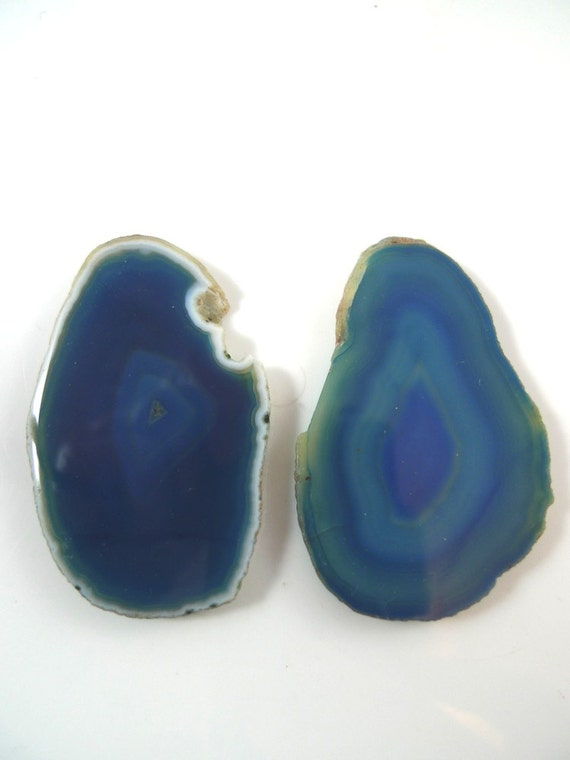 2 Blue Agate Stone Slices Pendants Nibbled Raw Edge ...