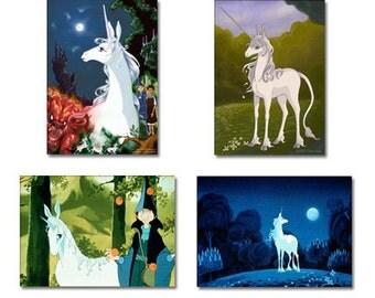 Set of 4 The Last Unicorn Anime Fridge Magnets