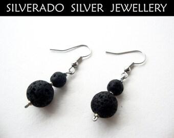 SANTORINI ** Natural Volcanic Lava Graduaded Beads Dangle Earrings