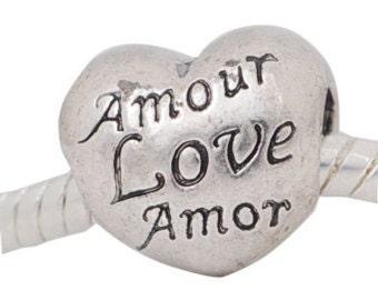 European Style Bead Charm for European Bracelet, Silver Plate, Heart, Amor, Amour, Love, Language of Love