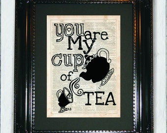 You're My Cup of Tea, Dictionary Art Print, Vintage Dictionary, Silhouette, Beauty and the Beast, Wall Decor, Wall Hanging, Art Prints,