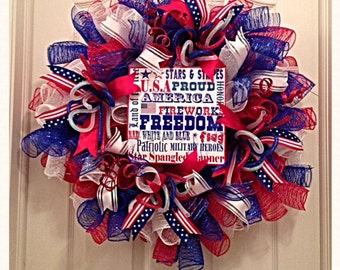 Patriotic Deco Mesh Wreath/4th of July Wreath/Labor Day Wreath/Red, White and Blue Deco Mesh Wreath/Summer Deco Mesh Wreath