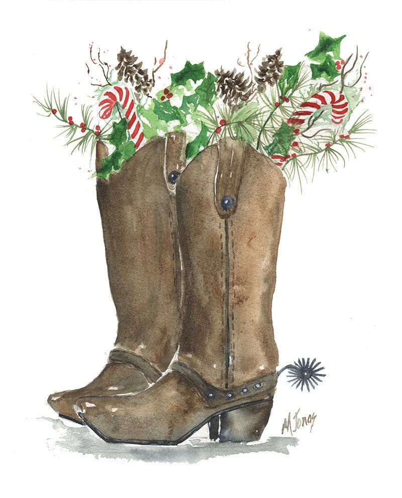 Cowboy Christmas Decor: Christmas Boots Cowboy Boots With Holly Pine By MarilynKJonas