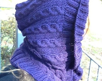 SALE! Cable Knit Wool Hood/Scarf- 100% wool- 1 available