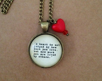 Wizard of Oz Heart Quote Necklace -  Handmade, Unique (FREE or LOW COST shipping)