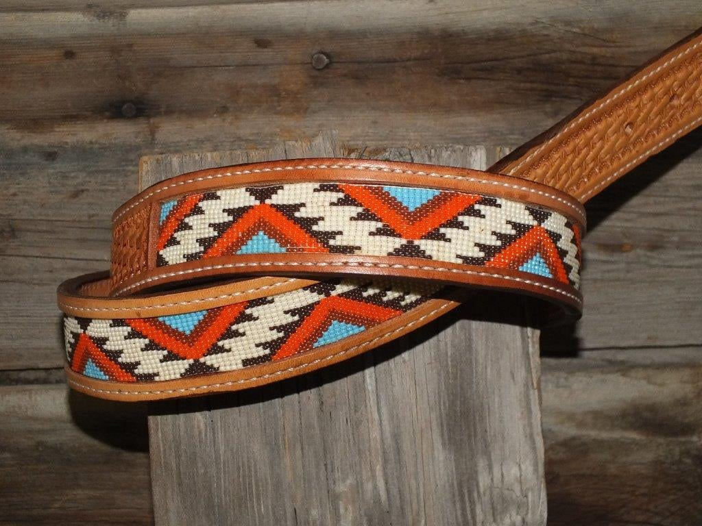 leather belt with beaded insert