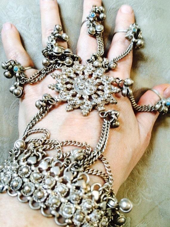 Extraordinary Vintage 1970's Dorsal belly dancer slave bracelet with 5 rings hearts & birds