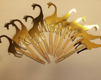 Birthday gold giraffe cupcake toppers. set of 12