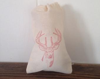 Deer Favor Bags Antler Set of 10 Cotton Bags Christmas Reindeer Party Favor