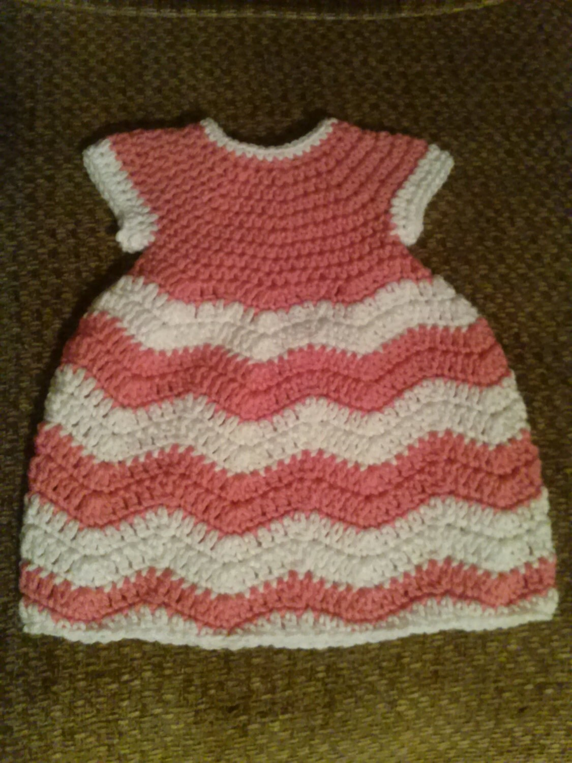 Crocheted Chevron 0-3 mo Baby Dress
