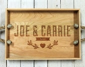 Serving Tray Wood Forever Design Custom  Engraved Name - Rustic