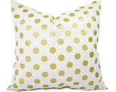 Two Metallic Gold Pillow Covers - White and Gold Pillow Cover - Decorative Pillow - Polka Dot Pillows - Holiday Decor - 16x16 18x18 20x20