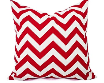 Two Chevron Pillow Covers - Red and White Pillows - Pillow Cover Red - Red Pillow Sham - Red Pillows - Red Throw Pillows