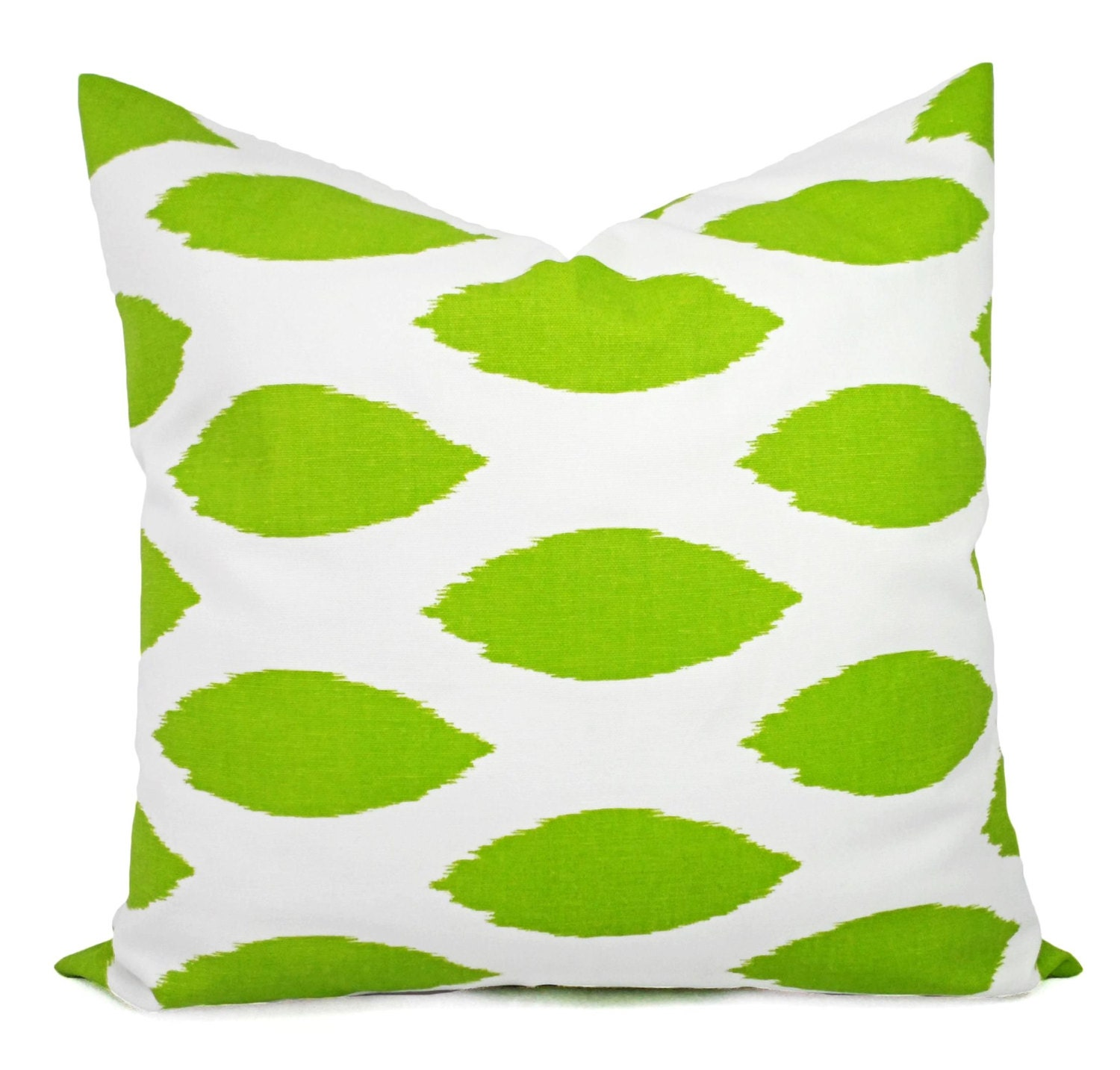 Two green throw pillows two green and white ikat pillow for Green and white throw pillows